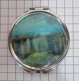 SPI 214 Spiegeldoosje Sterrennacht lichtblauwe lucht,  Vincent van Gogh