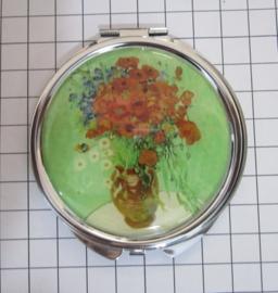 SPI 009 spiegeldoosje vaas rode bloemen Vincent van Gogh