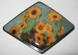 Haarspeld ruitvorm zonnebloemen Claude Monet HAD 003