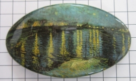 Haarspeld 8 cm ovaal HAO 406 sterrennacht water Vincent van Gogh