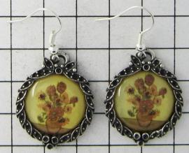prachtige verzilverde oorbellen zonnebloemen nieuw Vincent van Gogh OOR 313