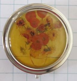 PIL401 pillendoosje met spiegel zonnebloemen oud Vincent van Gogh