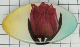 HAK 317 Haarspeld ovaal klein 6 cm, roze tulp