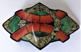 Haarspeld 7,5 cm met dunne plakjes halfedelsteen, jade (groen), parelmoer etc.  en coating (slechts 1 stuk)