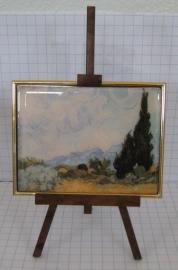 SCH 006 schildersezeltje 22 cm met schilderijtje Cypresboom van Gogh