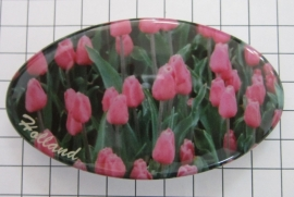 Haarspeld ovaal HAO 313 roze tulpenveld