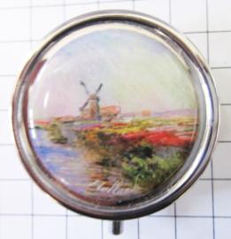 PIL221 pillendoosje met spiegel molen tulpenveld Claude Monet