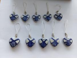 10 stuks uitdeelsouvenir Holland- tassenhanger- sleutelkoordje- uitsdeelsouvenir delftsblauw hart porselein