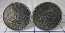Manchetknopen verzilverd kwartje/25 cent 2001