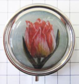 PIL113 pillendoosje met spiegel roze tulp