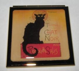 Spiegeldoosje verguld, zwarte kat van Steinlen