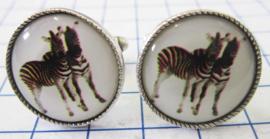 MAK043 Manchetknopen verzilverd zebra