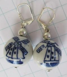 oorbellen Delftsblauwe molenkraal handgeschilderd