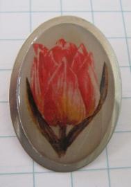 BRO 002 broche roze geschilderde tulp