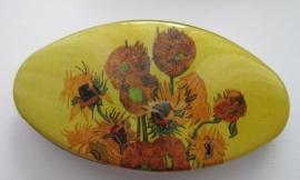HAO 203 Haarspeld ovaal nw zonnebloemen Vincent van Gogh 8 cm