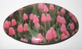 HAO 005 Haarspeld roze tulpenveld geplaatst