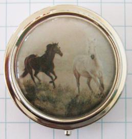 PIL129 pillendoosje met spiegel zwart wit paarden