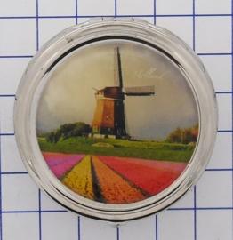PIL227 pillendoosje met spiegel molen met tulpenveld