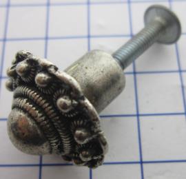 ZKG432 kastknopje / meubelknopje zeeuwse knop zwaar verzilverd
