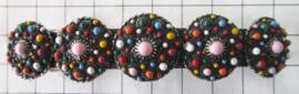 ZKG442-MC Haarspeld 8 cm met 5  Zeeuwse knop regenboogkleuren emaille
