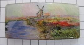Haarspeld rechthoek HAR305 Molen en kleurig tulpenveld Monet