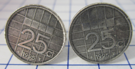 Manchetknopen verzilverd kwartje/25 cent 1995