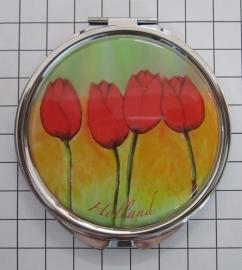 SPI 007 Spiegeldoosje rode tulpen