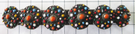 ZKG439-MC Haarspeld 10 cm met zeeuwse knopen, zwaar verzilverd, bewerkt met kleurige emaille