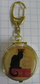 Chique echt vergulde sleutelhanger mini asbak met reproduktie zwarte kat Steinlen