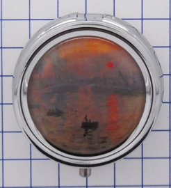 PIL 138 pillendoosje met spiegel zonsopgang Claude Monet