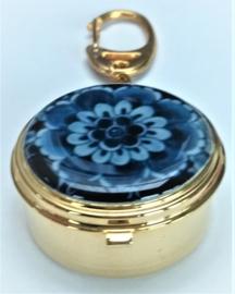 Meeneem mini zak asbakje sleutelhanger, echt verguld met Delftsblauwe bloem