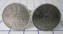 Manchetknopen verzilverd kwartje / 25 cent 1968