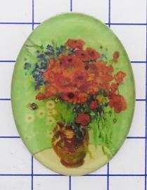 BRO 810 broche Vaas rode bloemen Vincent van Gogh