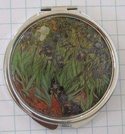 Spiegeldoosje extra zware kwaliteit, messing en verguld, irissen Vincent van Gogh