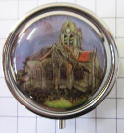 PIL405 pillendoosje met spiegel kerk Arles Vincent van Gogh