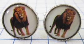 MAK044 Manchetknopen verzilverd Leeuw