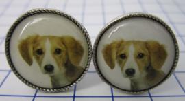 Manchetknopen verzilverd hond bruin/wit MAK032