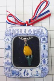 HAN 120 kettinkje met verzilverd hangertje tulpje felgele emaille