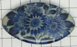 HAK 318 Haarspeld ovaal klein 6 cm, Delftblauwe bloemen