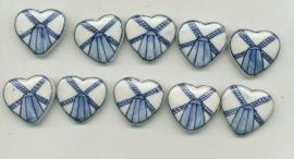 4 kralen Delftsblauw plat hart met handgeschilderde molen