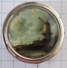 PIL224 pillendoosje met spiegel molen ruysdael