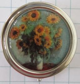 PIL424 pillendoosje met spiegel zonnebloemen Monet