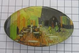 Haarspeld 8 cm ovaal HAO 404 cafe Vincent van Gogh, made in france uitstekende kwaliteit