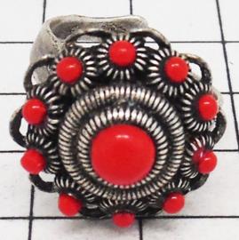Zeeuwse knop ring bolletjesrand en rode emaille ZKR304-R doorsnede ong. 2 cm, verstelbaar, een maat