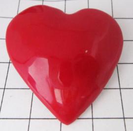 BD001 Haarspeldje 4 cm verzilverd hart met rode emaille