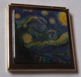 Verguld spiegeldoosje extra zware kwaliteit, messing en verguld, vierkant, Vincent van Gogh, sterrennacht