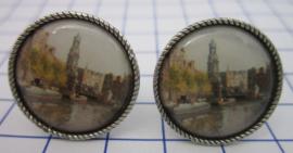 MAK 105 Manchetknopen verzilverd schilderij Amsterdam