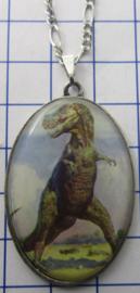 HAN506 Verzilverd kettinkje met verzilverde hanger dinosaurus T-Rex