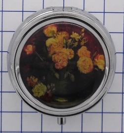 PIL421 pillendoosje met spiegel roze bloemen Vincent van Gogh