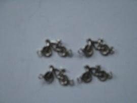fietsje met twee ogen verzilverd, per 4 stuks